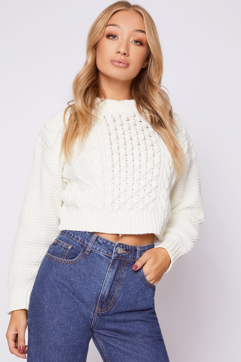 d337c4c6eead17 Kamari Cream Cable Knit Cropped Jumper | In The Style