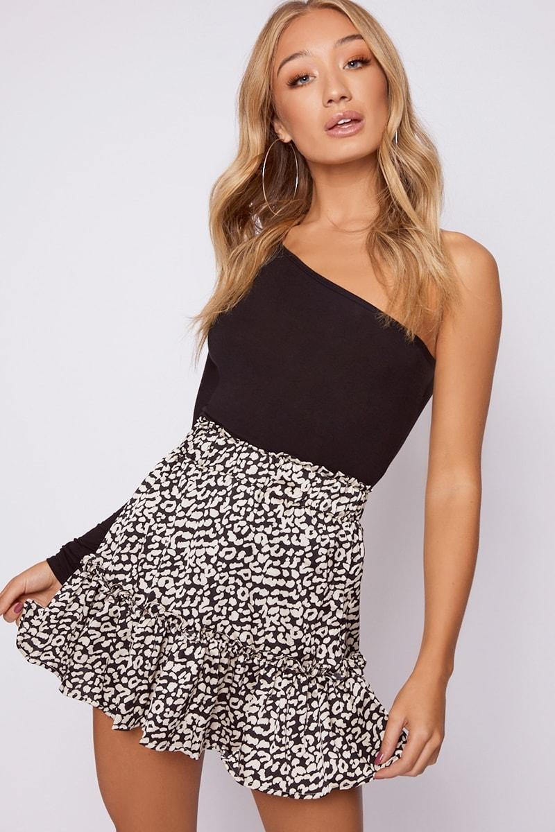 1b35401794b2 Leelah Black And White Leopard Ruffle Hem Skater Skirt | In The Style
