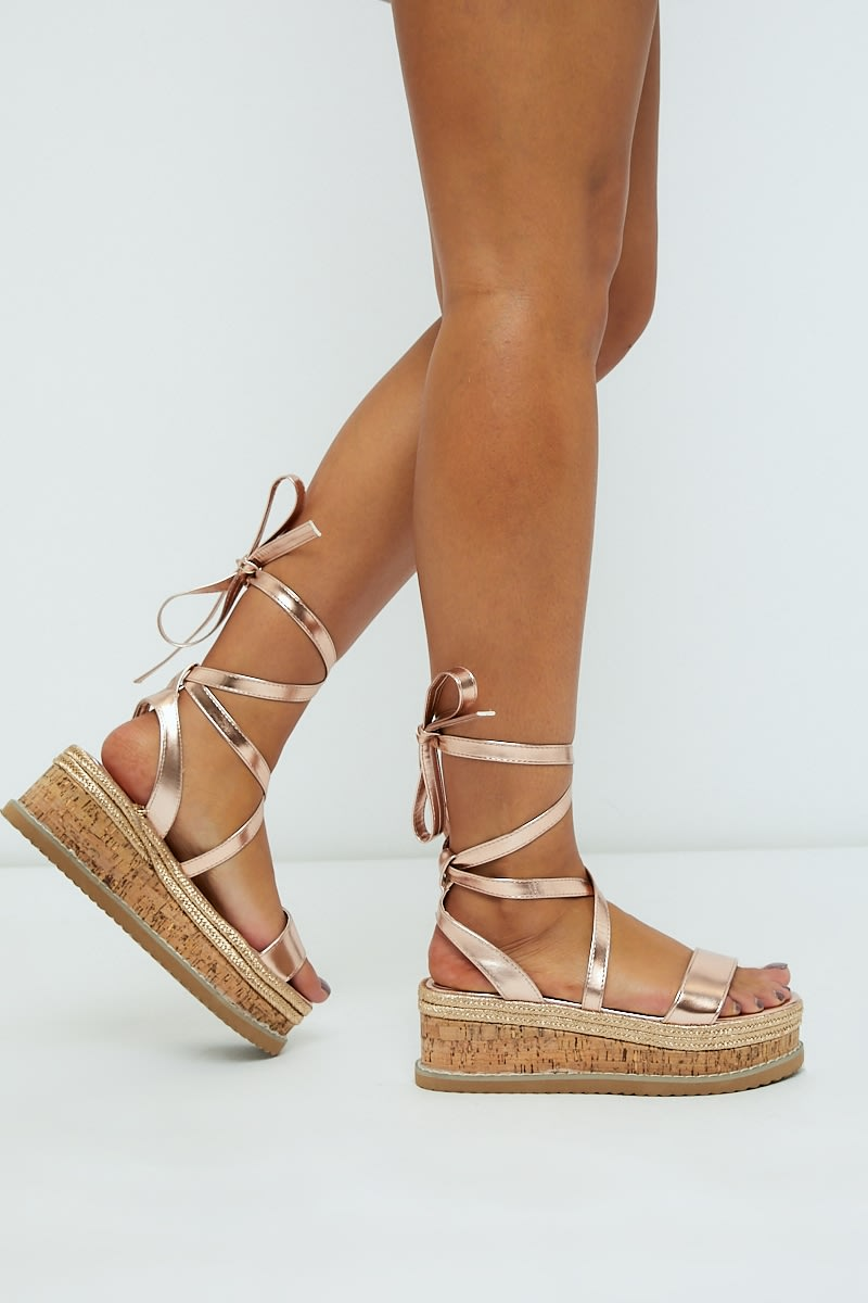 30e778461 SELBY ROSE GOLD TIE LEG PLATFORM ESPADRILLES | In The Style