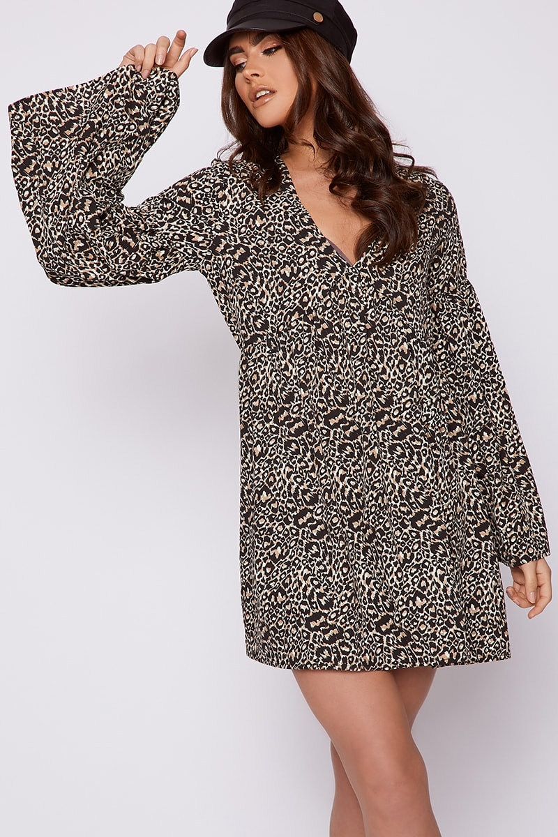 8bfc5ec5d2d8 Calleigh Brown Leopard Print Smock Dress | In The Style