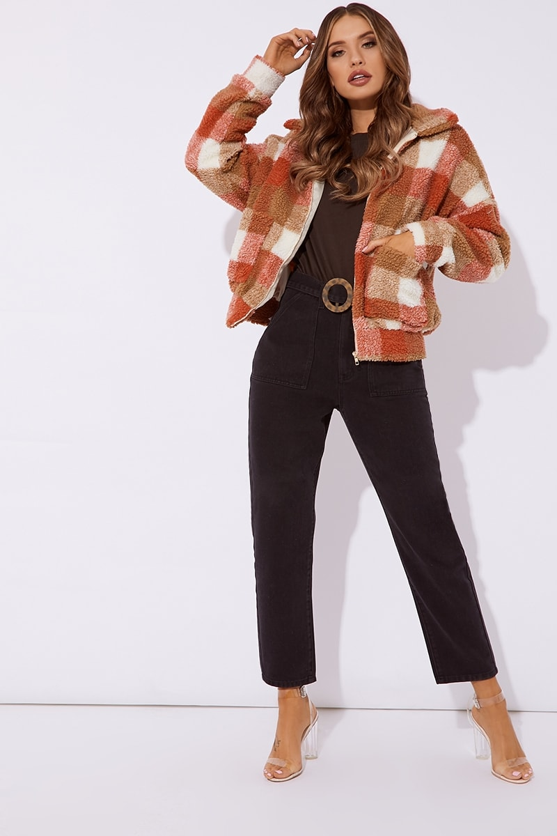 6f0c3518c7 Kaelia Rust Checked Teddy Fur Bomber Jacket | In The Style