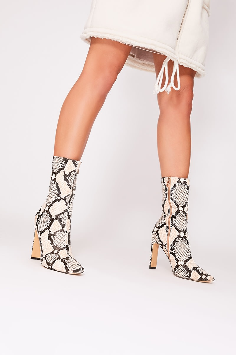 608604c2c528 Oriah Nude Snake Print Heeled Boots | In The Style