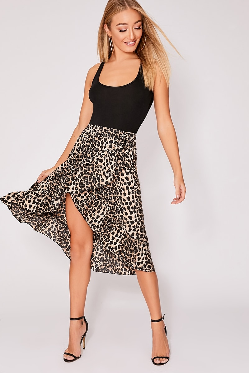 latest trends beautiful and charming replicas Brown Leopard Print Wrap Frill Midi Skirt   In The Style Ireland