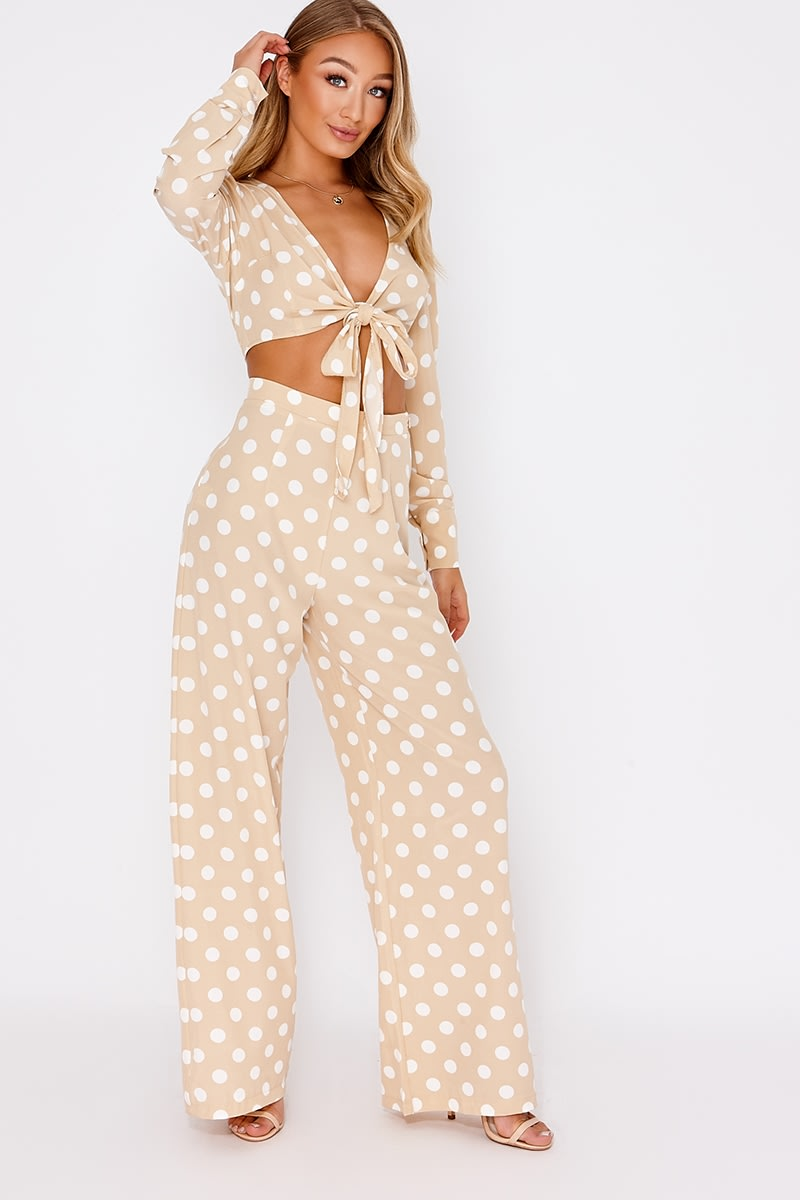 8295731e5b48c8 Billie Faiers Nude Polka Dot Palazzo Trousers | In The Style