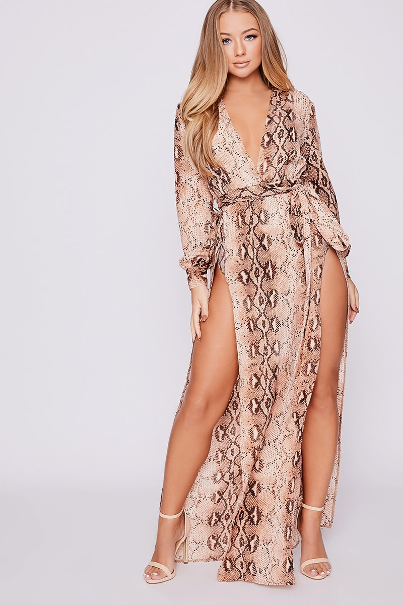 64ccfe525bd93a Billie Faiers Nude Snake Print Wrap Side Split Maxi Dress | In The Style