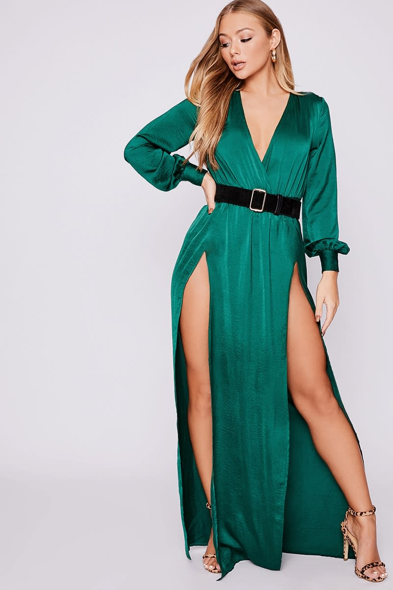 a5450de9e5 Billie Faiers Green Wrap Side Split Maxi Dress | In The Style