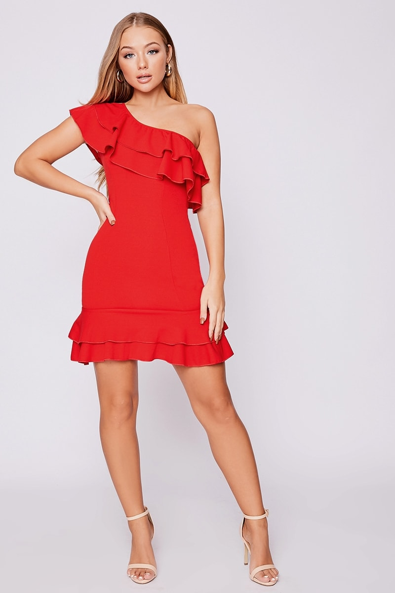 b1e838a96c6 Billie Faiers Red Asymmetric Double Frill Mini Dress | In The Style