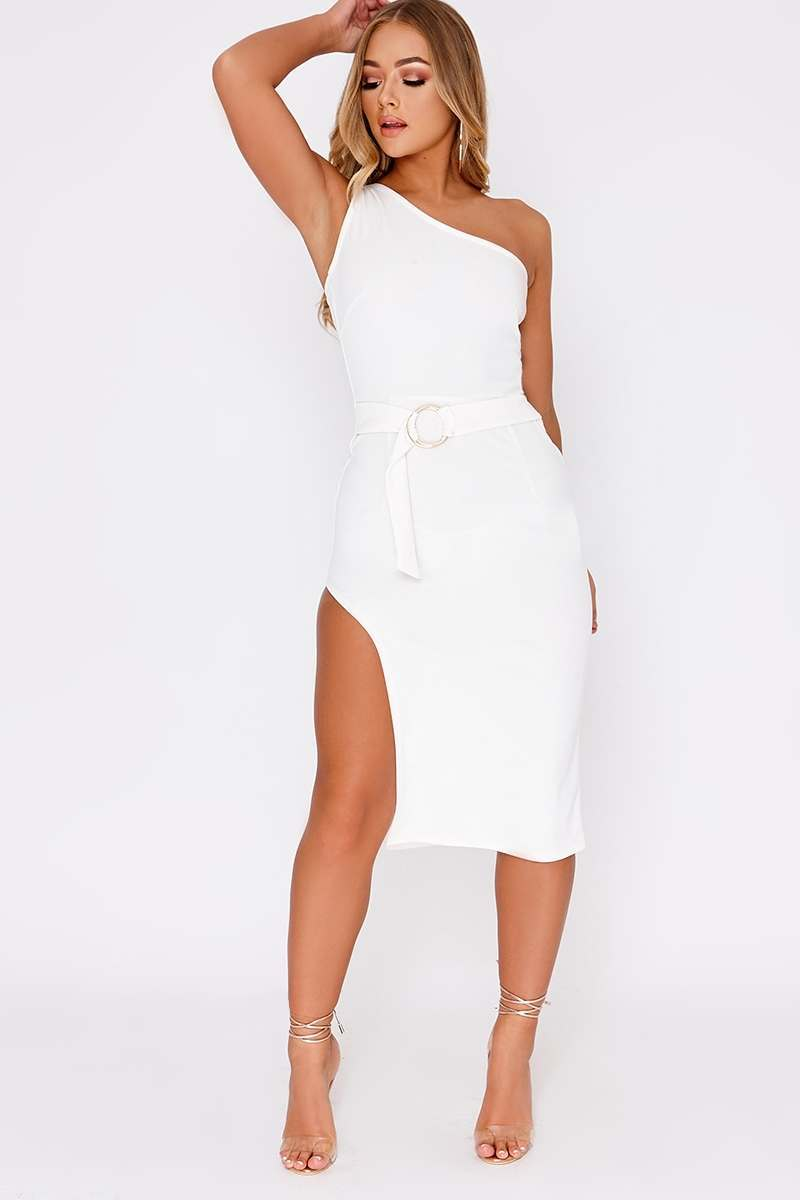 d5b187332a84 Billie Faiers White One Shoulder Side Split Midi Dress | In The Style