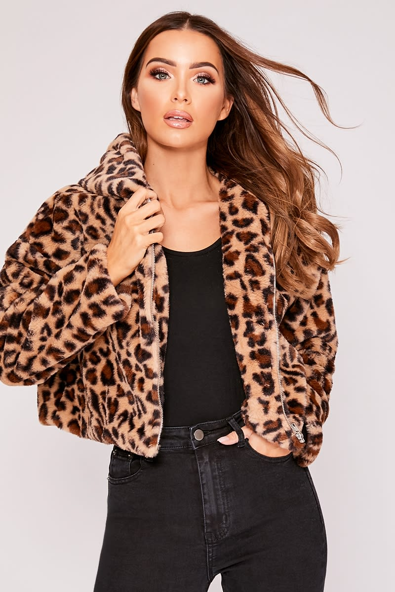 6f918d60cd4cc Ivy Leopard Faux Fur Hooded Cropped Jacket | In The Style