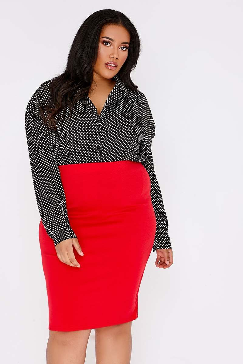 c9735d0b79c CURVE BUFFY RED MIDI SKIRT | In The Style