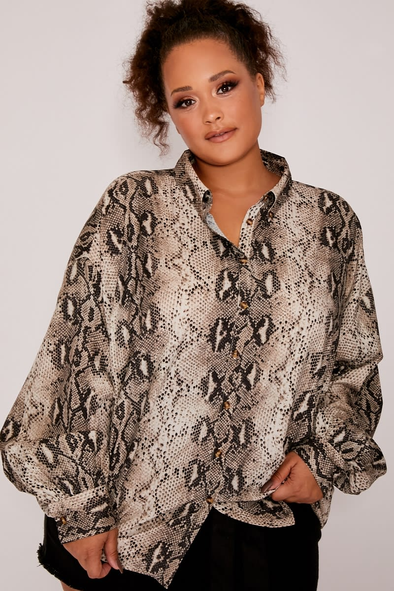 fda9b4d0 Curve Dani Dyer Grey Snake Print Oversized Shirt | In The Style