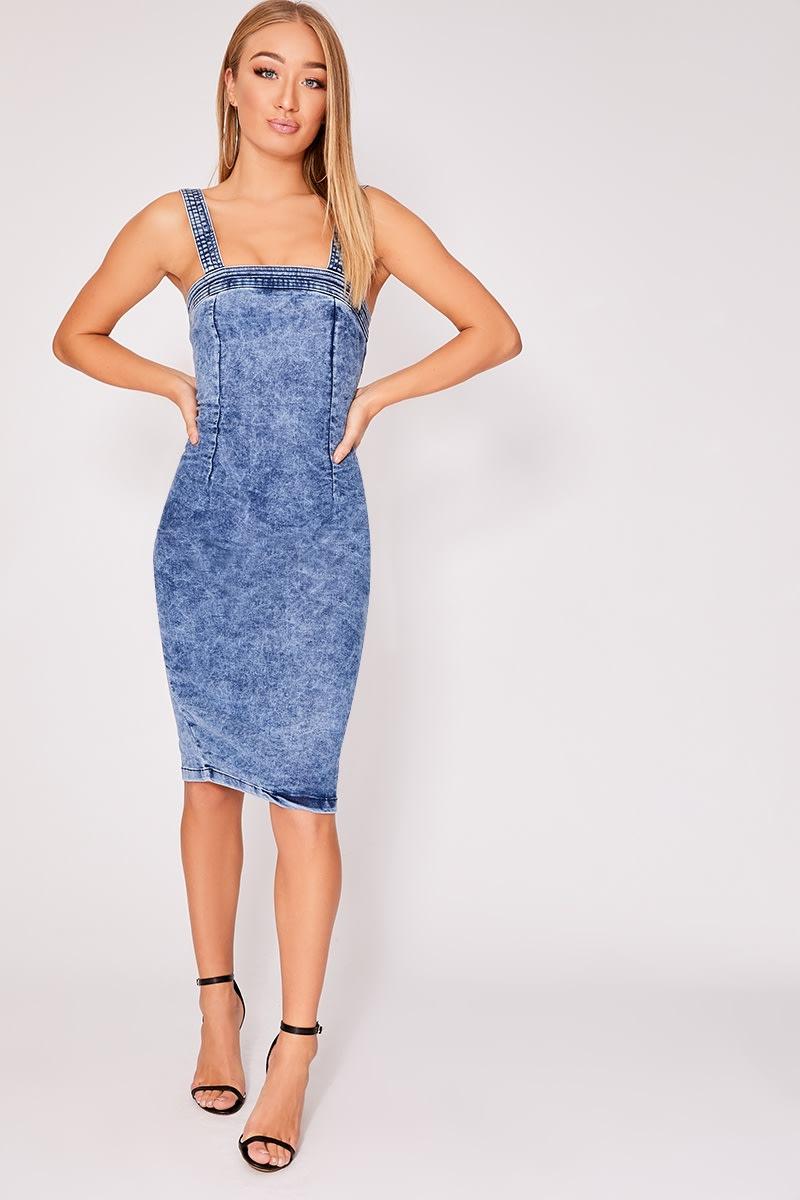 48e37ed37209 Floellah Acid Wash Denim Bodycon Midi Dress | In The Style
