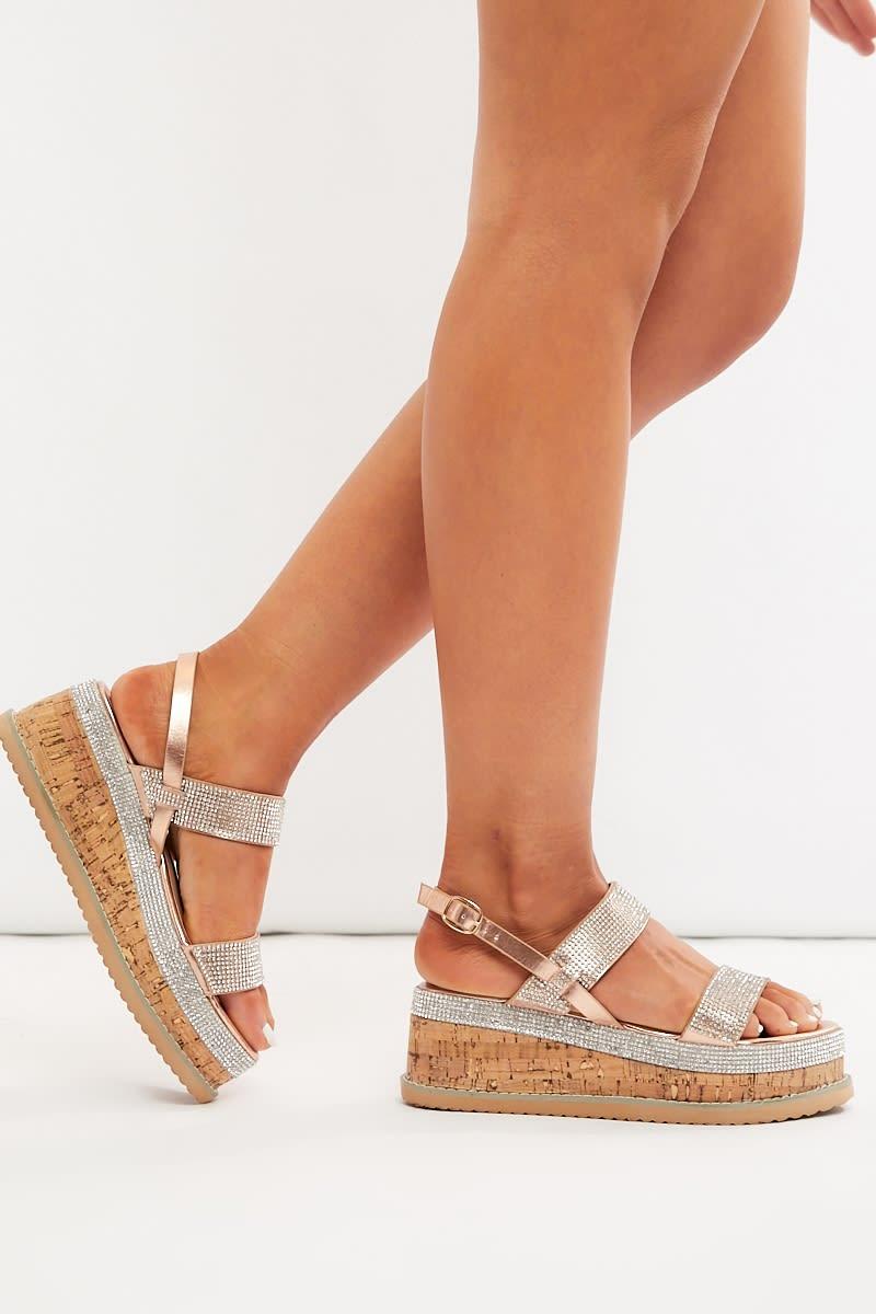 Rose Gold Diamante Platform Sandals