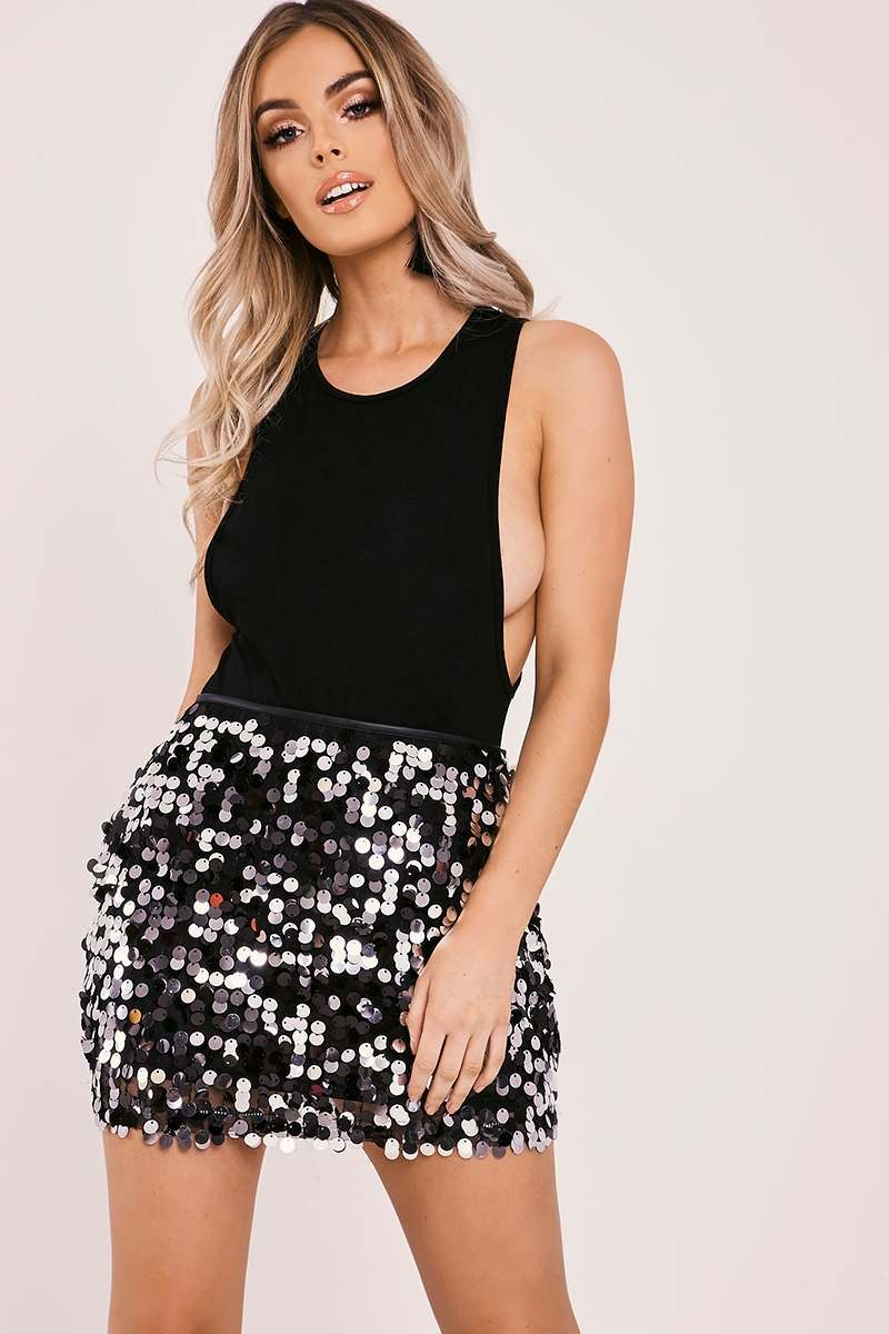 81a1aa41a248 Lyna Black Sequin Mini Skirt | In The Style