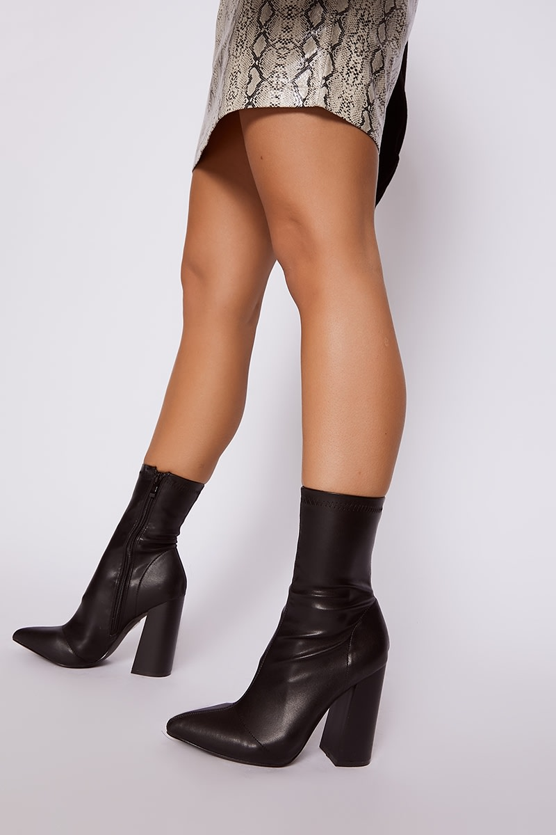 Black Faux Leather Flare Heeled Boots