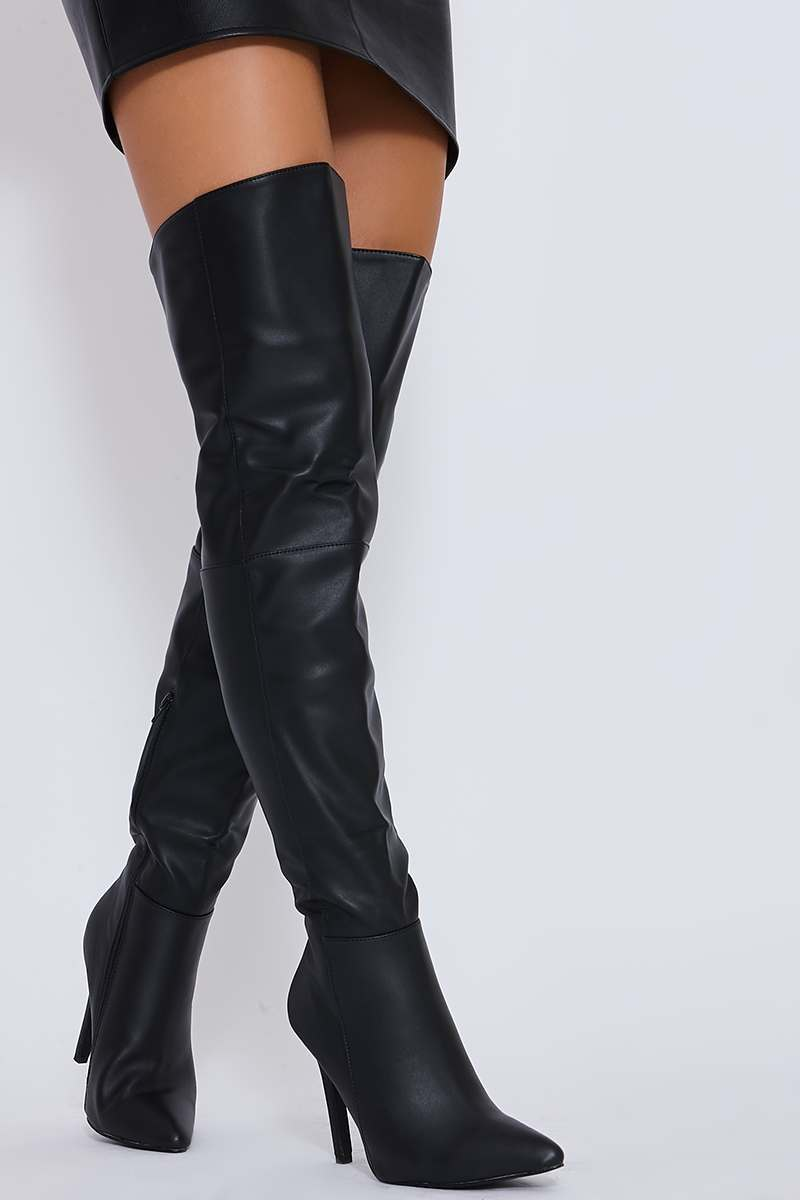 Black Faux Leather Over The Knee Heeled