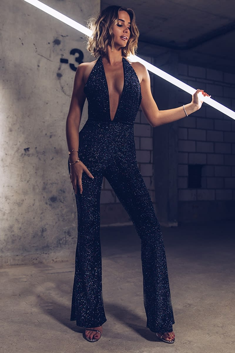b977e574c490 Emily Shak Black Glitter Velvet Plunge Halterneck Jumpsuit | In The ...