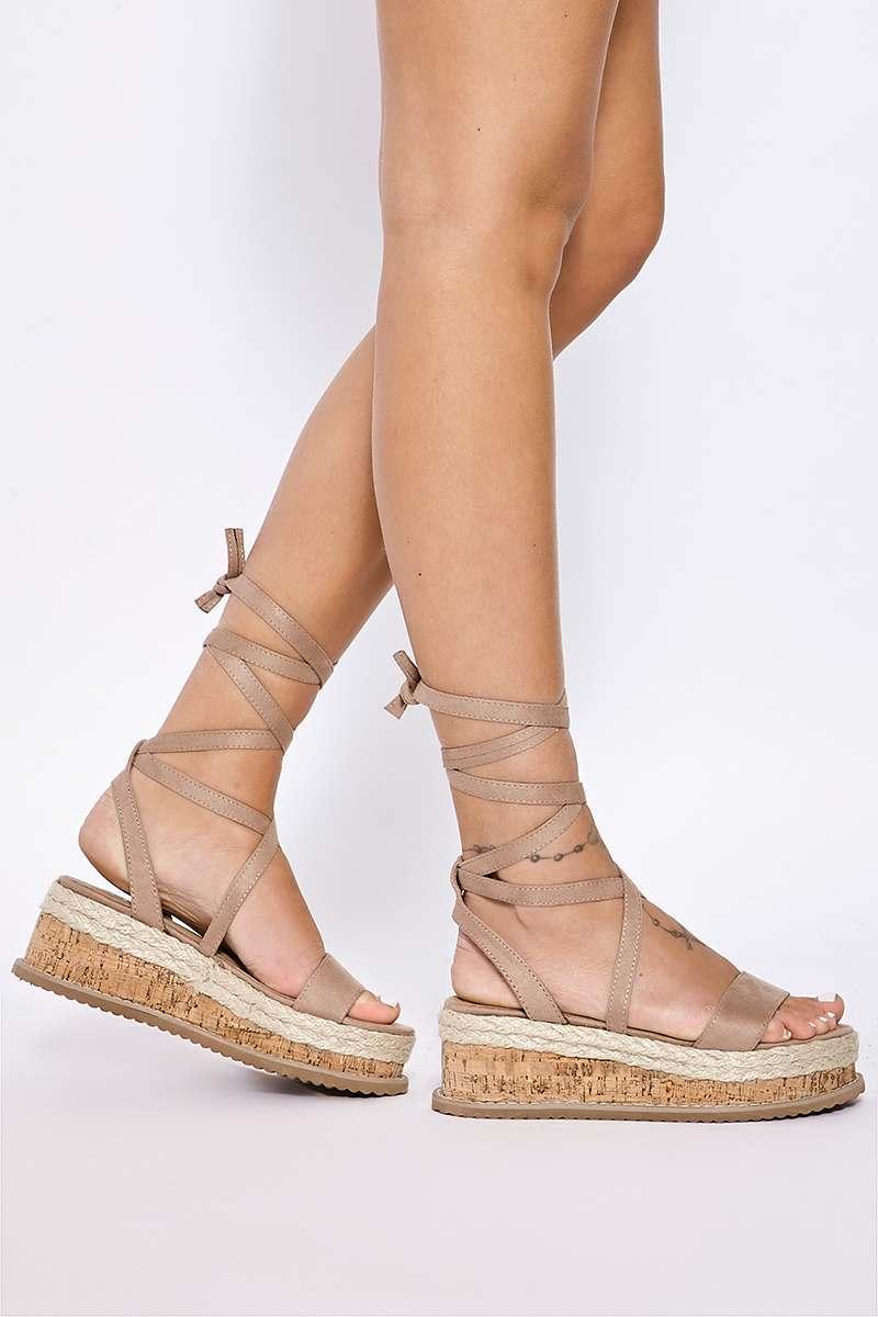 dc07c6e35 SELBY MOCHA FAUX SUEDE TIE LEG PLATFORM ESPADRILLES | In The Style