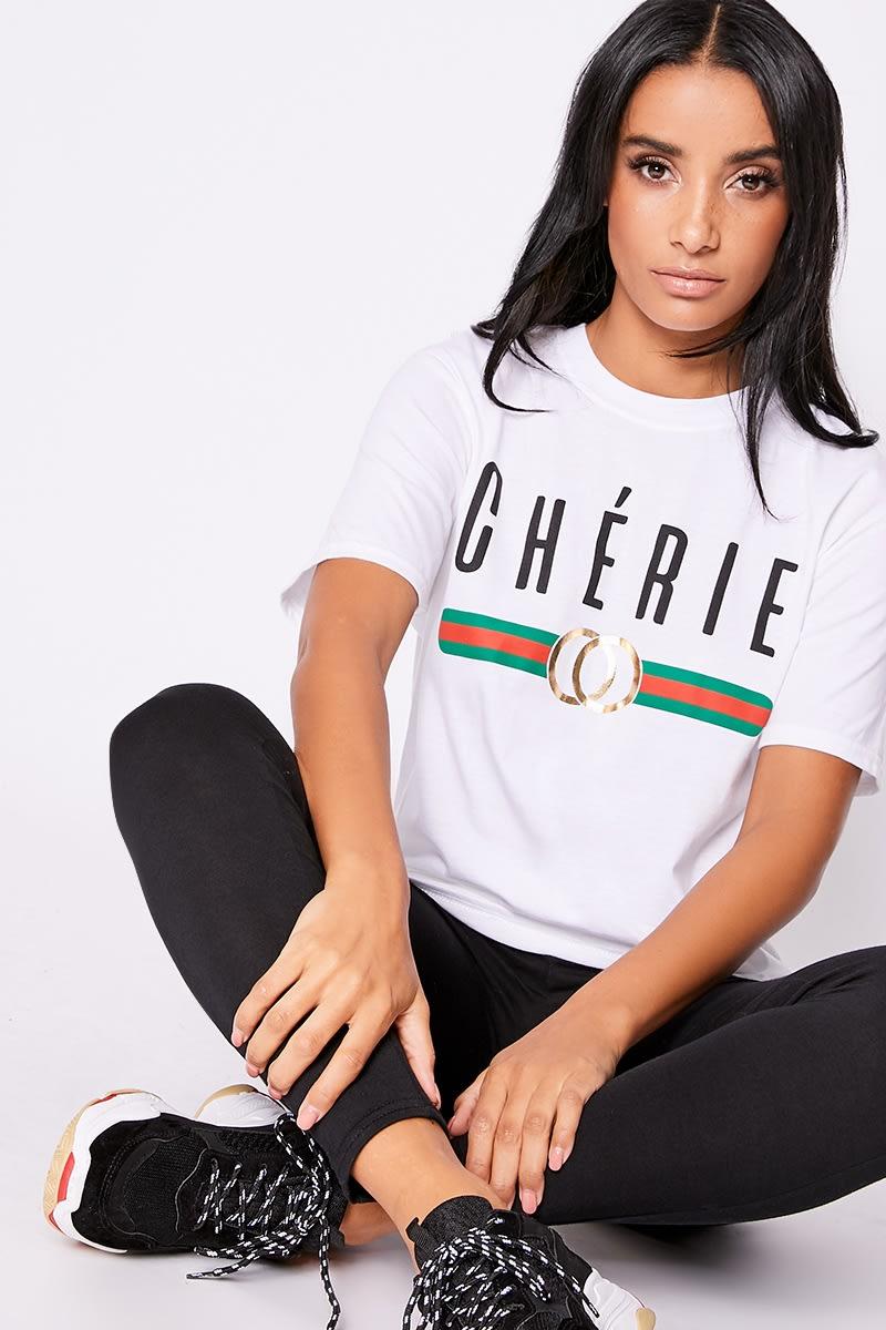 9c4288ca Cherie White Slogan Boyfriend T Shirt | In The Style