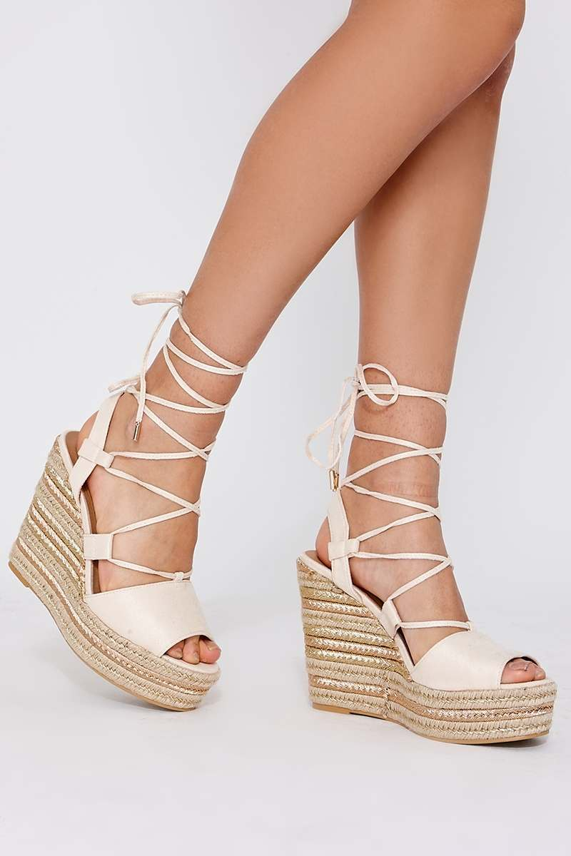 3c006628a Poni Cream Faux Suede Lace Up Espadrille Wedges   In The Style