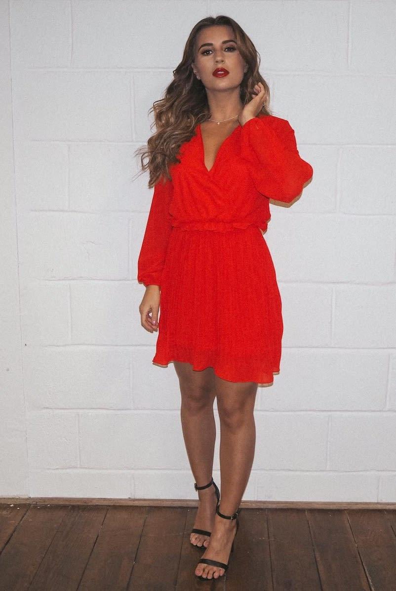 d5672fbb95eeb Dani Dyer Red Balloon Sleeve Pleated Mini Dress | In The Style