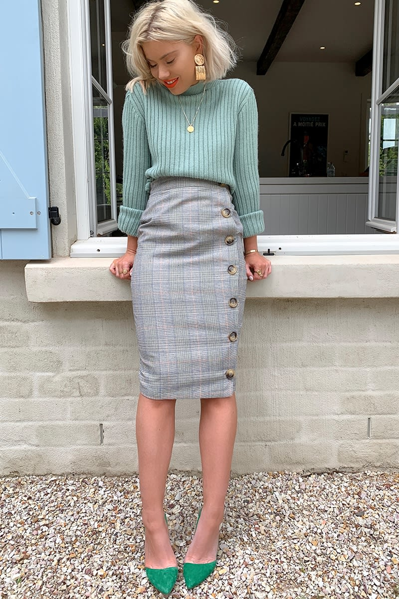 b658ca20dff9 LAURA JADE GREY HERITAGE CHECK HIGH WAISTED MIDI SKIRT WITH BUTTON SIDE  SPLIT