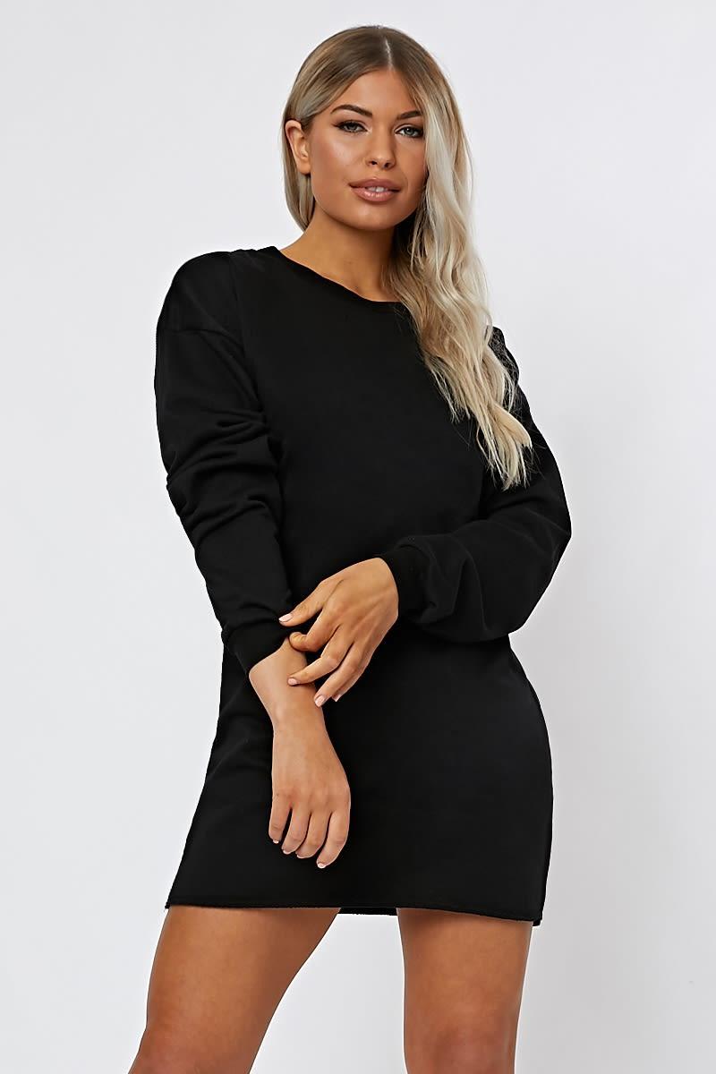 3d644b75369 LOUNA BLACK OVERSIZED SWEATER DRESS