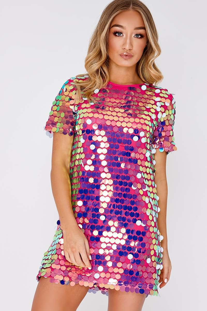 Pink Sequin T Shirt Dress In The Style