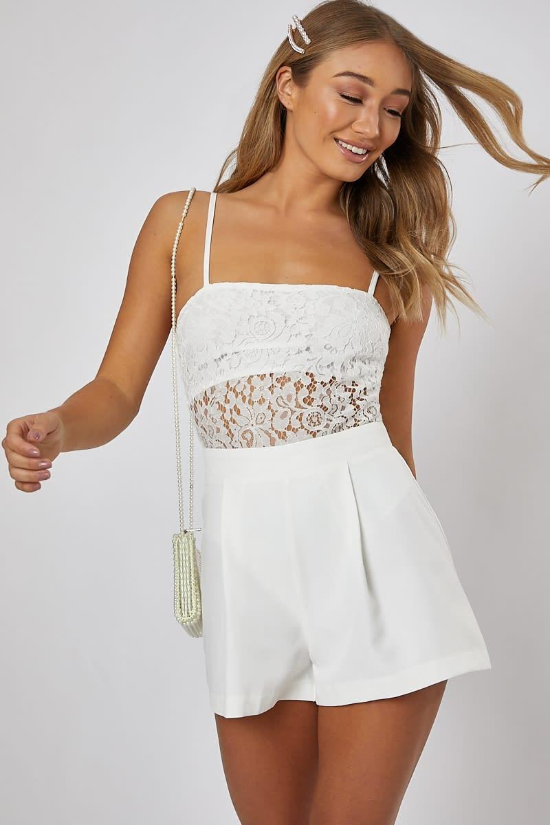 0614f39278f4 Manica White Lace Square Neck Bodysuit | In The Style