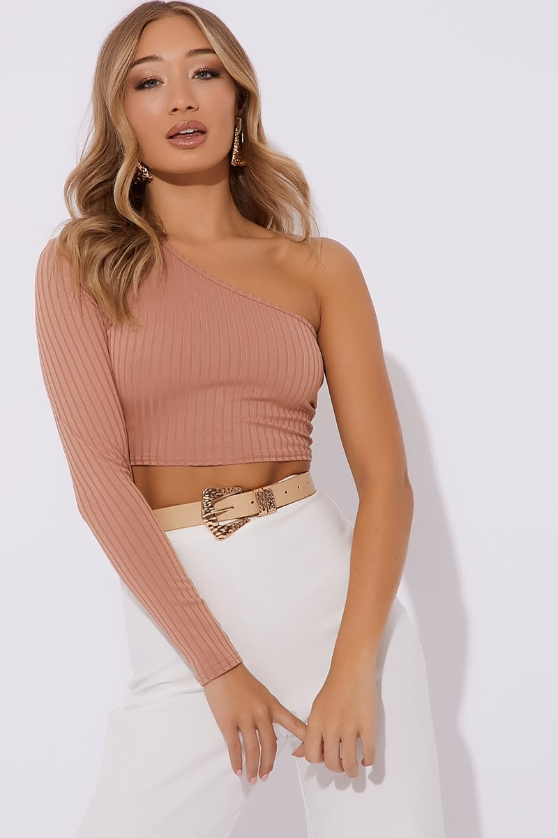 67c6ae3d7de Kindle Nude Ribbed One Sleeve Crop Top | In The Style