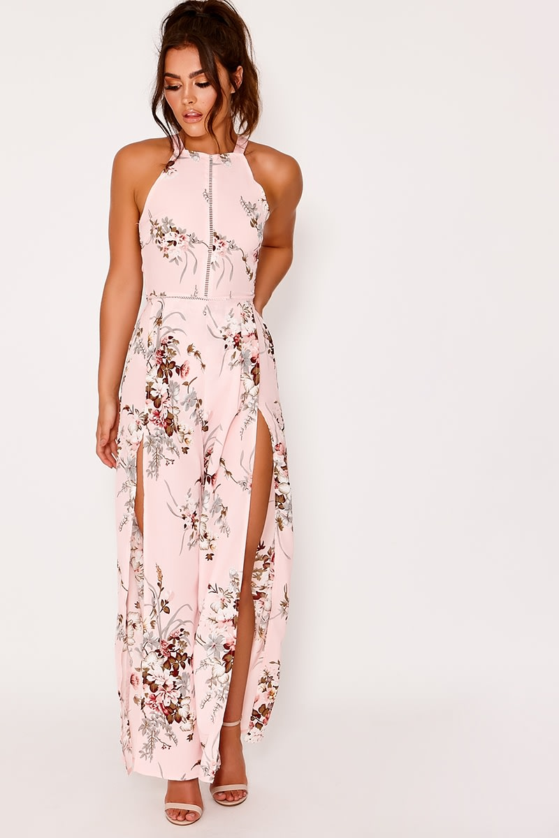 new concept half off lower price with pink floral split leg jumpsuit
