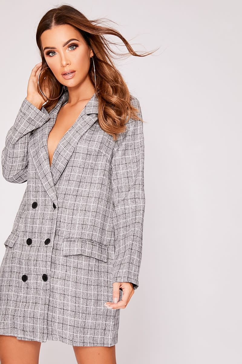 f786bb8255 Kieryn Grey Check Button Detail Blazer Dress | In The Style