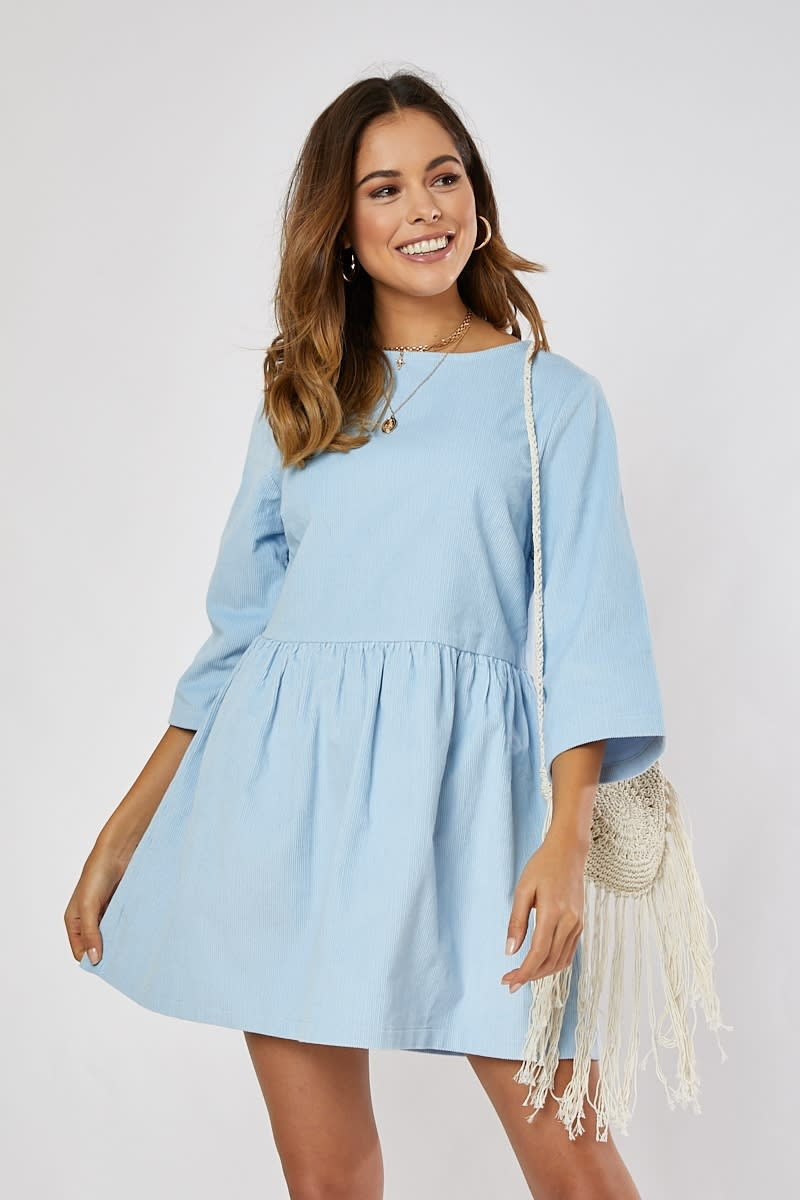 Pale Blue Cord Smock Mini Dress | In The Style Australia