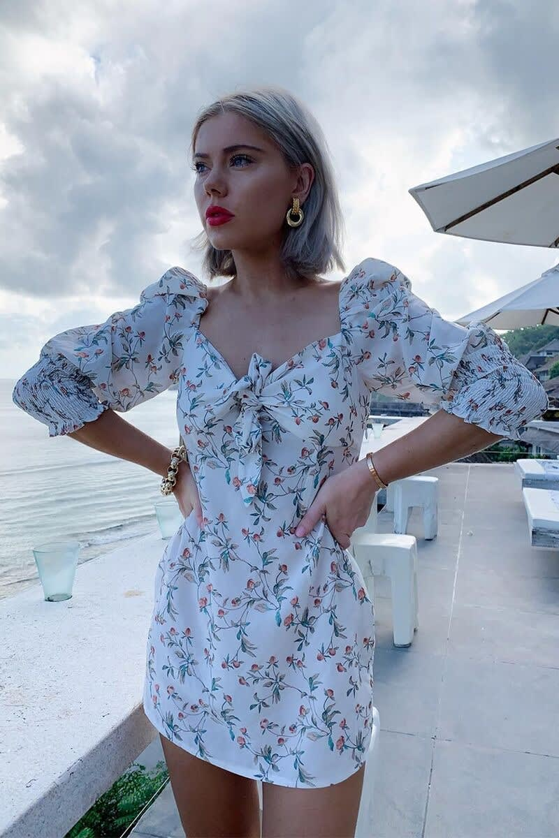 99637f5fb688 Laura Jade White Floral Print Tie Front Puff Shoulder Mini Dress | In The  Style