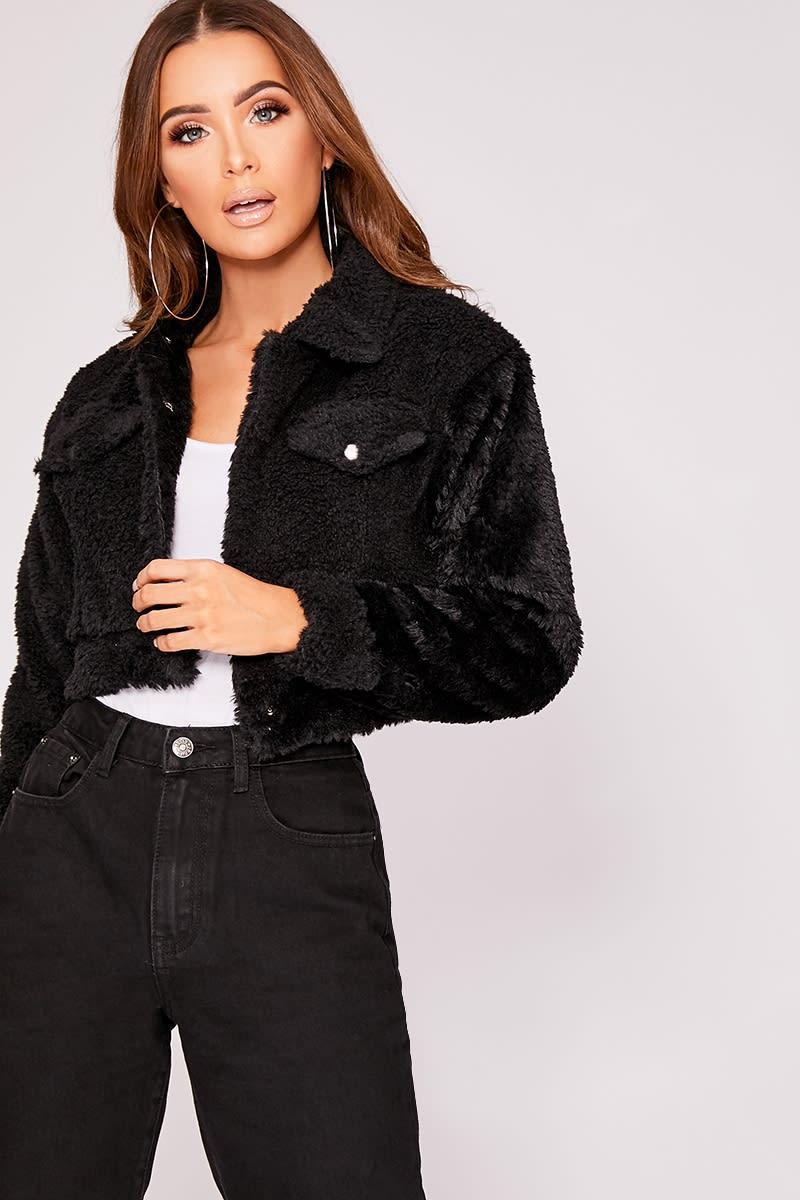 0223e02c816 Iris Black Teddy Fur Cropped Trucker Jacket   In The Style