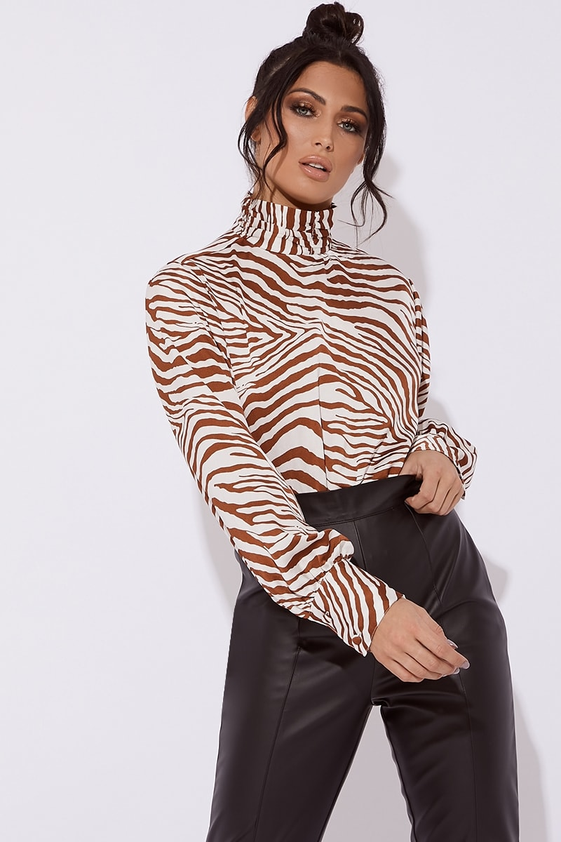 d140e135645d Freya High Neck Zebra Print Satin Cropped Top | In The Style