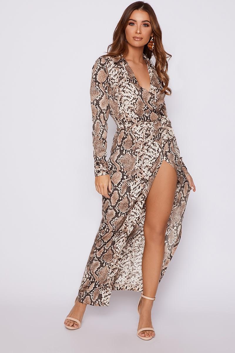 2deec5a40684 Daenah Brown Snake Print Wrap Midi Dress | In The Style