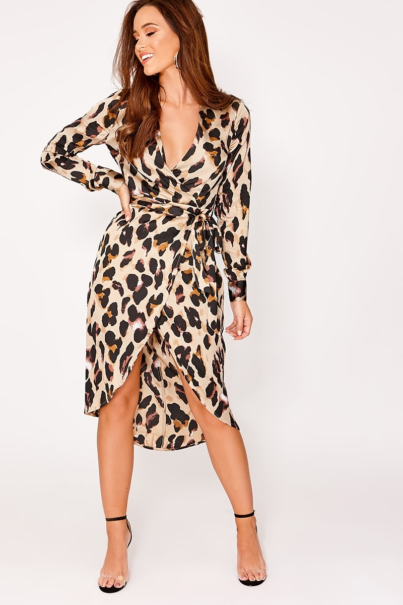 bbf271c9a4817 Alexina Gold Satin Leopard Print Wrap Midi Dress | In The Style