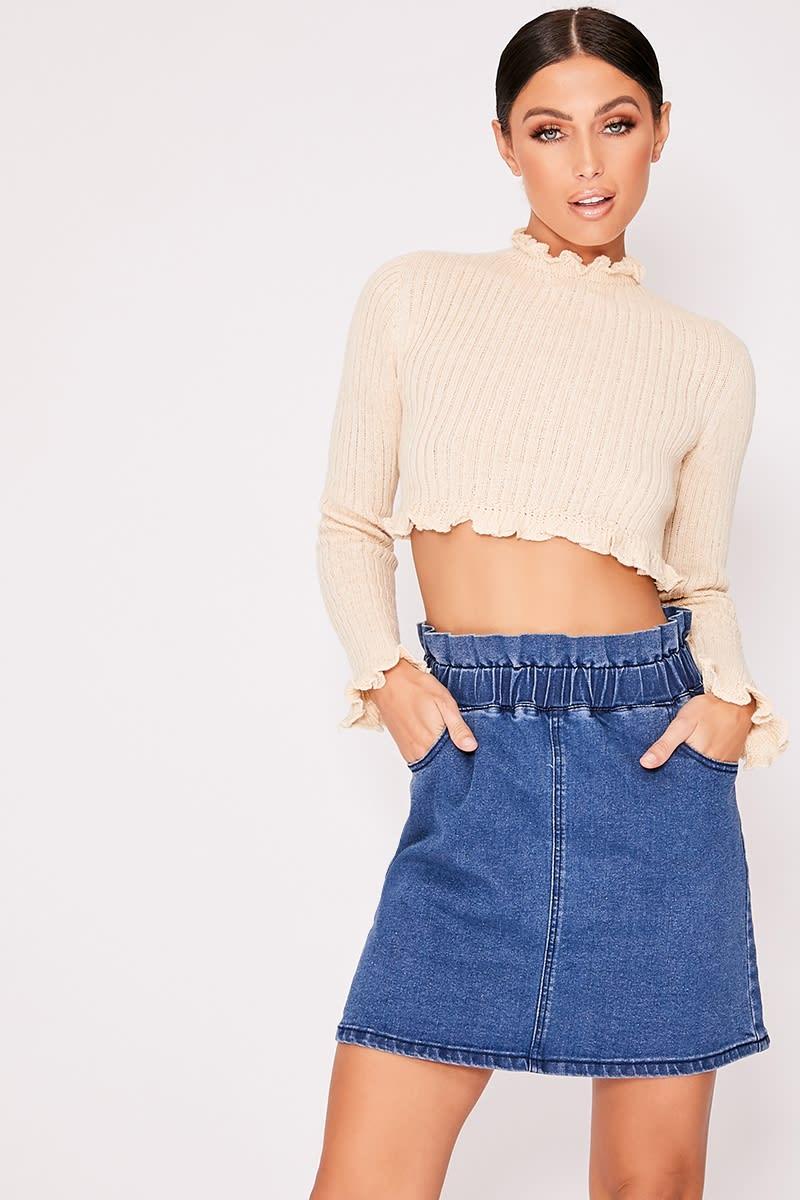 311a606e27 Kynsley Blue Paperbag Waist Denim Mini Skirt | In The Style