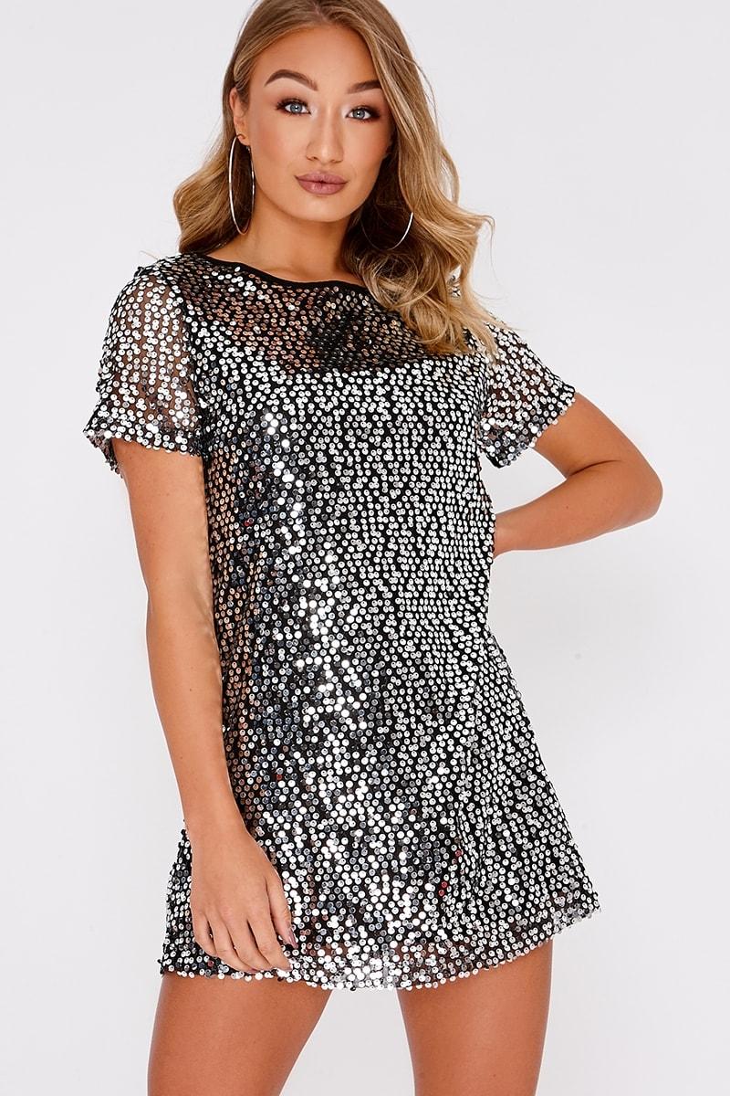 15db939015 Madeline Black Sequin T Shirt Dress | In The Style