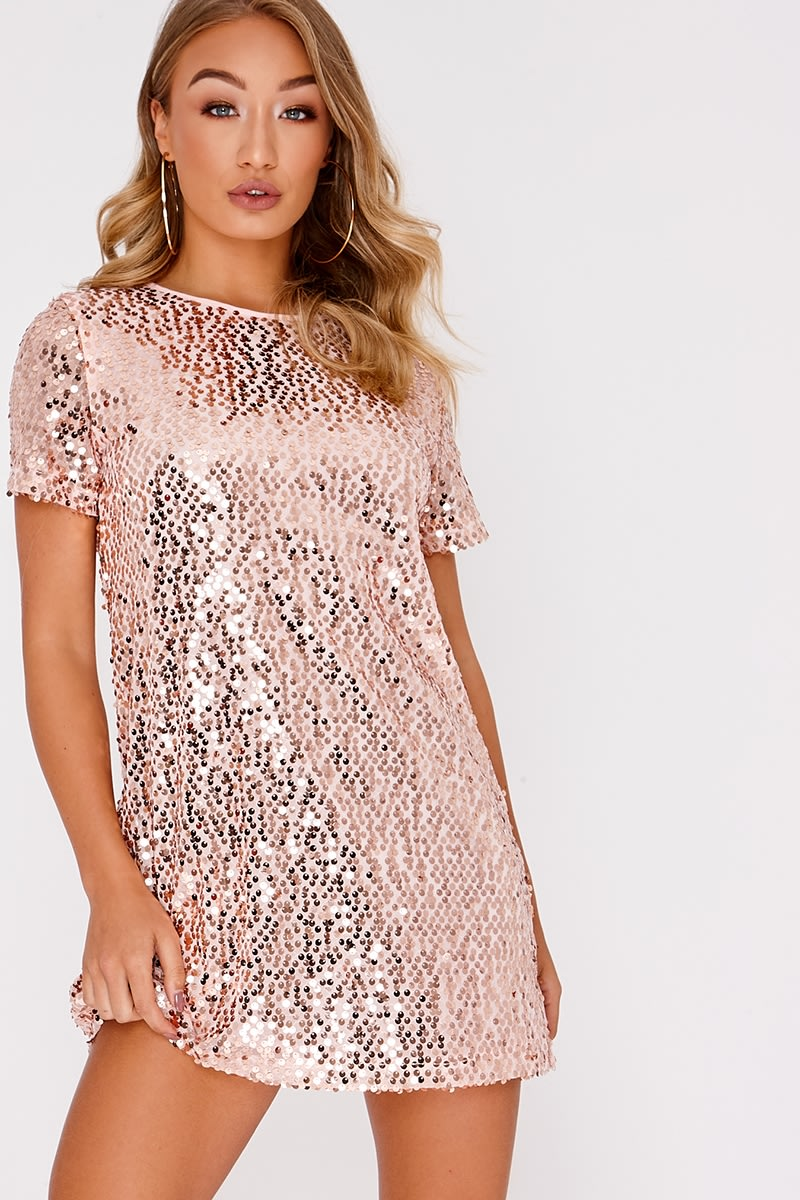 b8d2d4e5bde2a MADELINE ROSE GOLD SEQUIN T SHIRT DRESS | In The Style