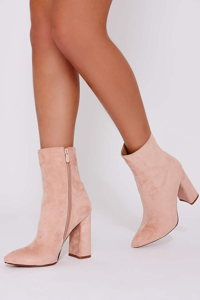 238ff3be42a STELLA BLUSH FAUX SUEDE HEELED ANKLE BOOTS