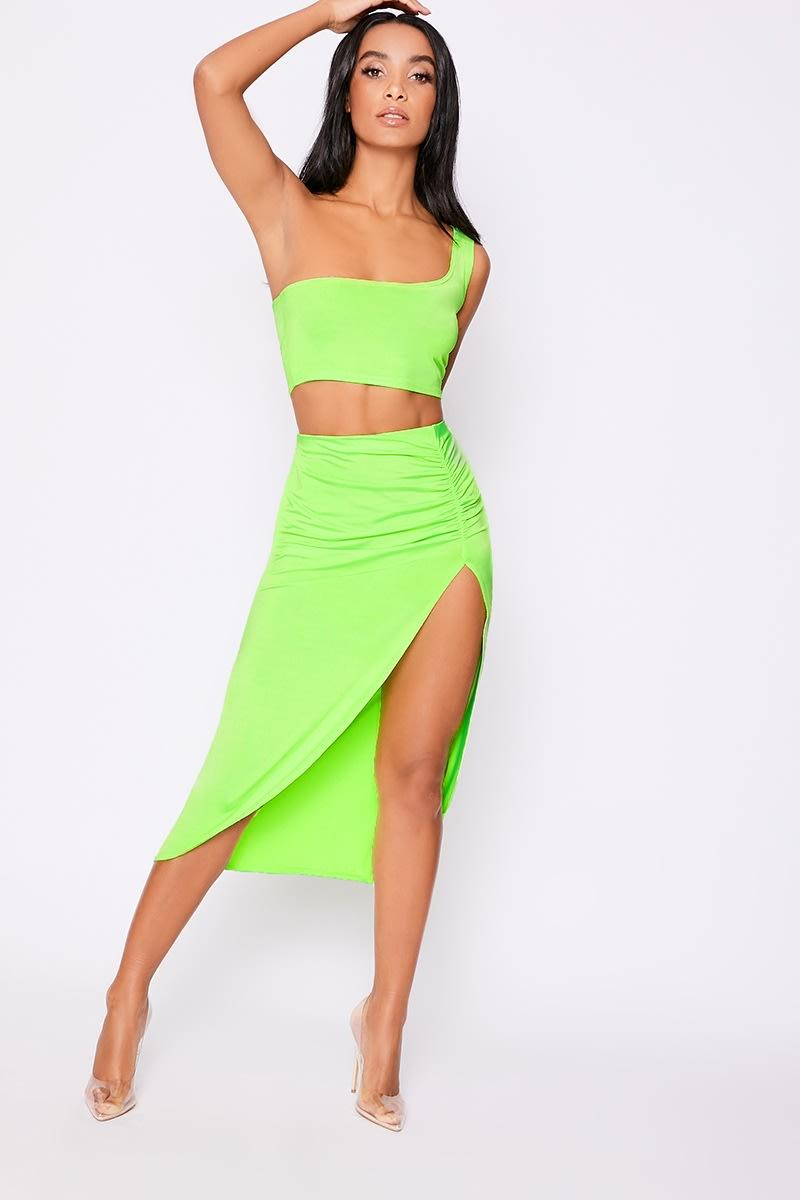 704540d9c42 Lyola Neon Lime Thigh Split Midi Skirt | In The Style