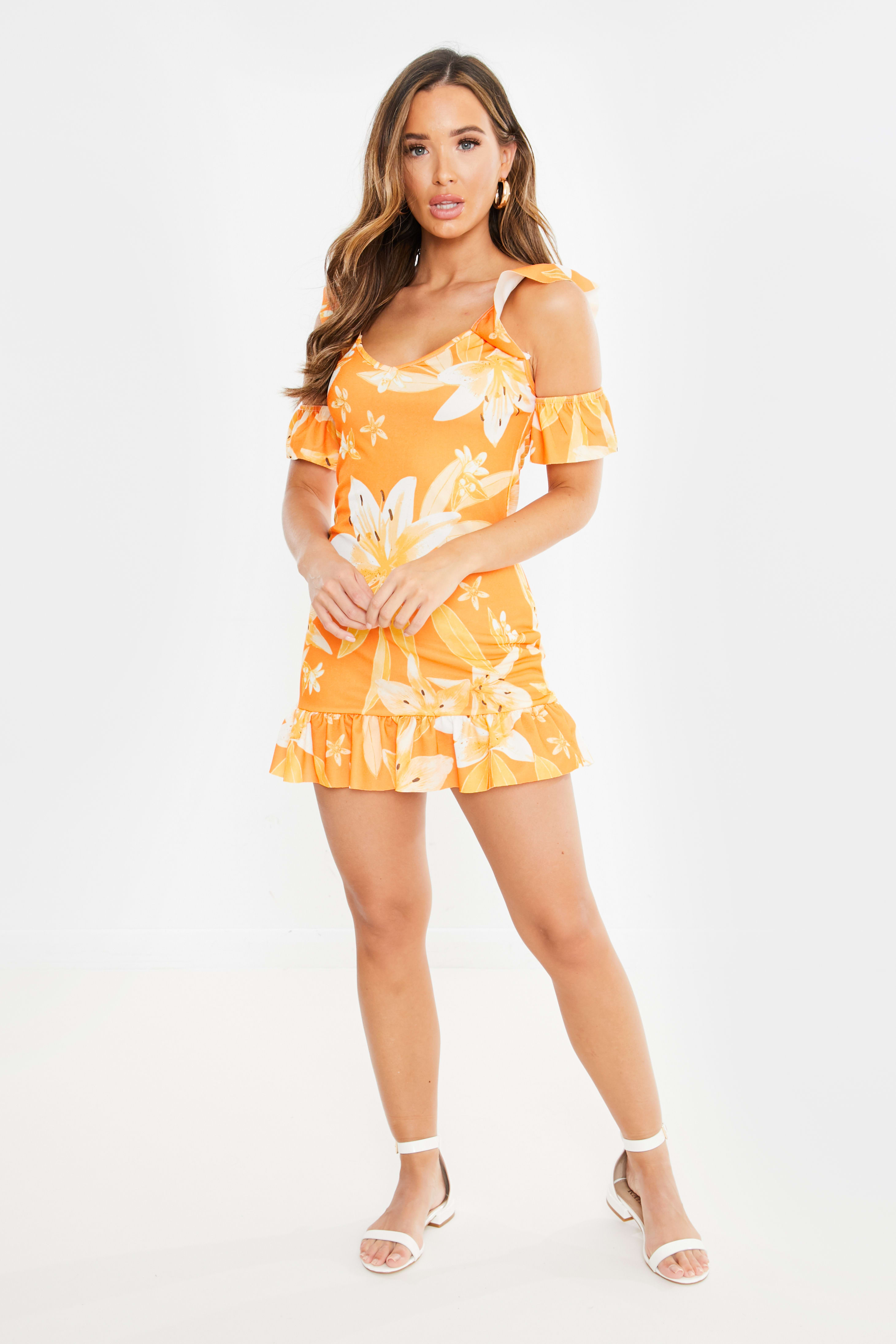 b732df48f9cb17 Zoai Orange Floral Cold Shoulder Frill Mini Dress | In The Style