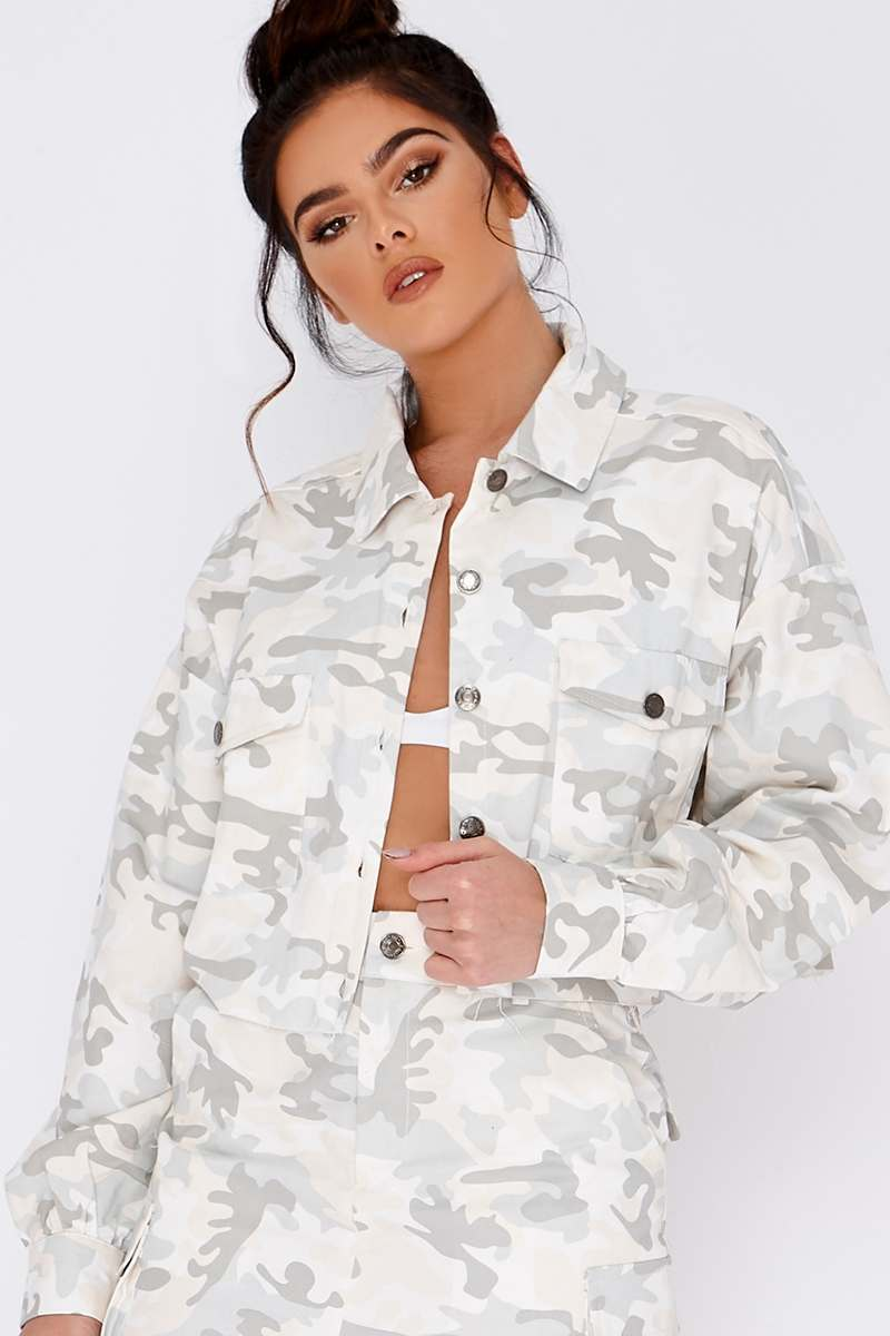 66d91f9c411ec Pia Mia Nude Camo Long Sleeve Cropped Jacket | In The Style