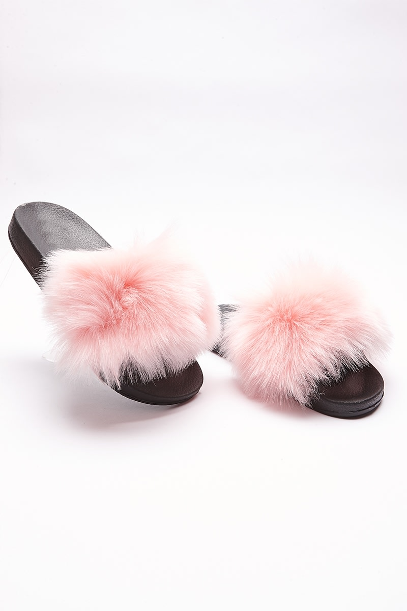 Pale Pink Fluffy Sliders   In The Style