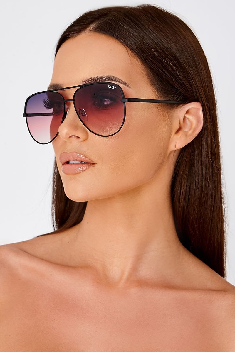 0109eedae998 Quay Sahara Purple Tinted Lens Aviator Sunglasses | In The Style