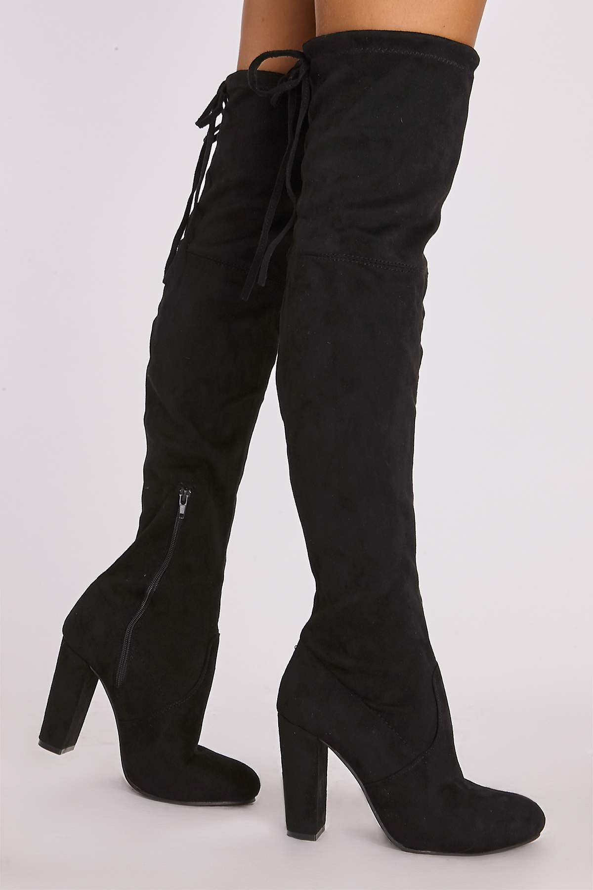 c2f4df0eda8 REMI BLACK FAUX SUEDE OVER THE KNEE HEELED BOOTS