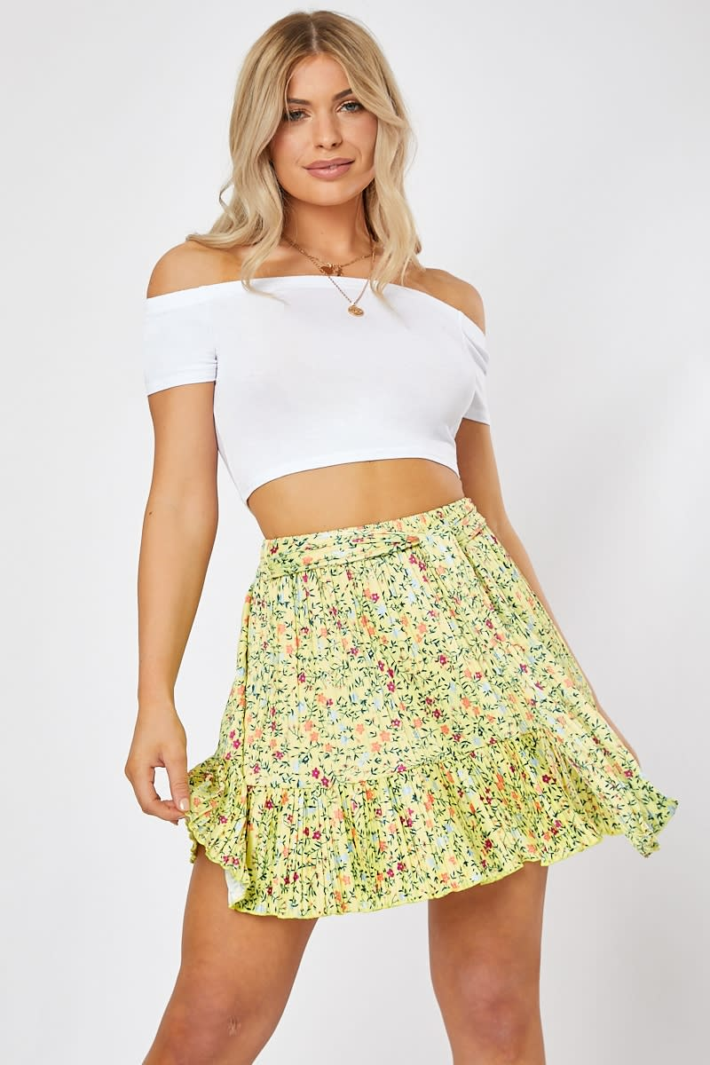 6127060bee5 Iunda Yellow Ditsy Floral Print Frill Hem Mini Skirt | In The Style