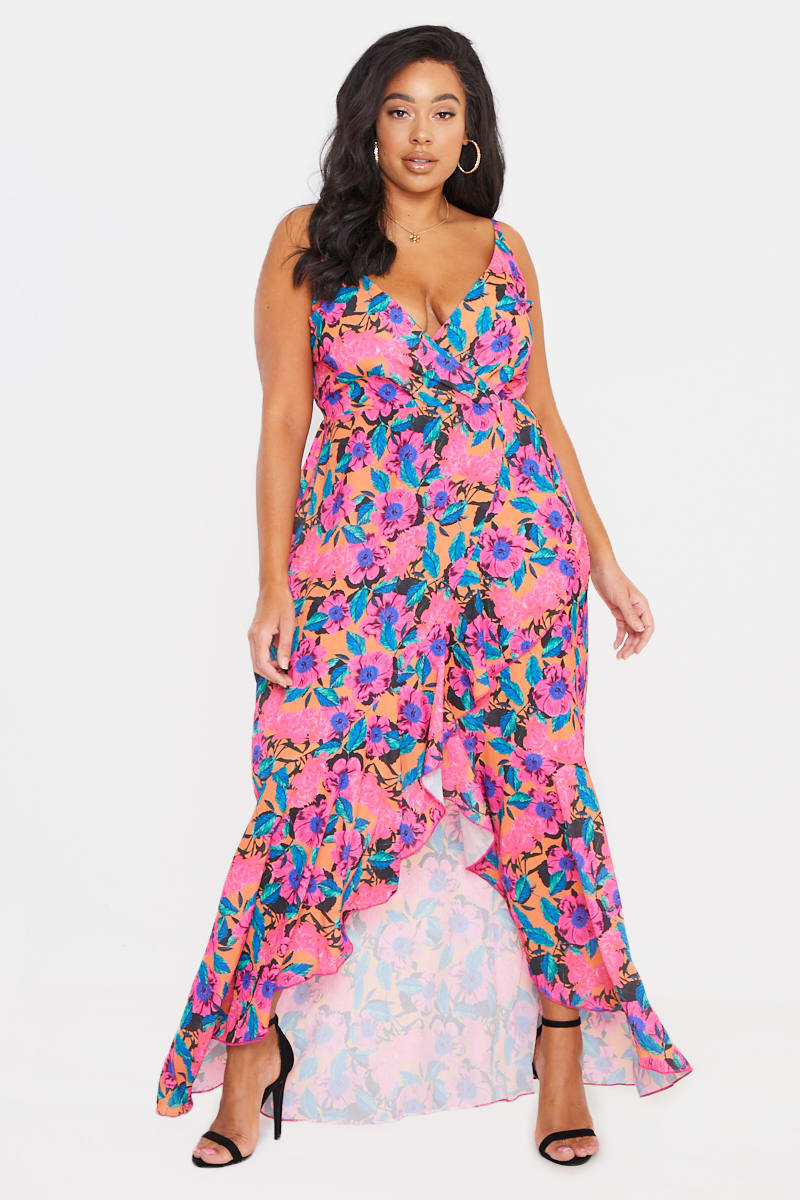 8613c5f603 Curve Billie Faiers Pink Floral Frill Wrap Maxi Dress | In The Style